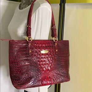 Brahmin Julian Dark Red Wine Melbourne Croc Tote